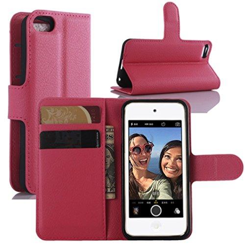 HualuBro iPod Touch 5/6 / 5G / 6G Hülle, Premium PU Leder Leather Wallet HandyHülle Tasche Schutzhülle Flip Case Cover mit Karten Slot für Apple iPod Touch 5/6 Generation (Rose) Premium Ipod Touch