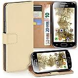 moex Samsung Galaxy Ace 2 | Hülle Beige mit Karten-Fach 360° Book Klapp-Hülle Handytasche Kunst-Leder Handyhülle für Samsung Galaxy Ace 2 Case Flip Cover Schutzhülle Tasche