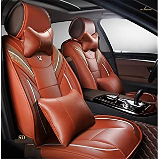 AMYMGLL Fünf Universal Leder Auto Kissen Luxus Sitzbezug 360 ° Full Surround Fit-Modell (Audi A3 a4l a6l Q3 Q5 A5), c