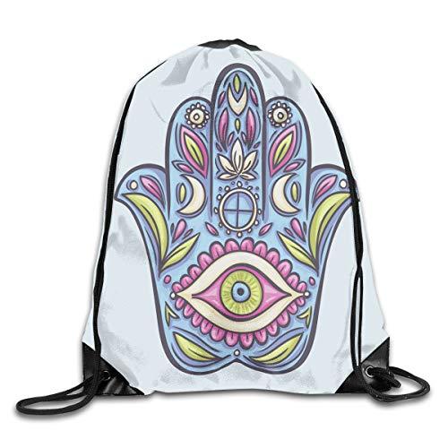 Drawstring Backpacks Bags Daypacks,Spring Nature Inspired Design Hand of Fatima Positive Doodle Lily Bloom Print,5 Liter Capacity Adjustable for Sport Gym Traveling Hand-seersucker