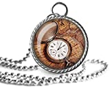 Collar antiguo, reloj de bolsillo, mapa del mundo, colgante de imagen vintage, joyería de cristal...