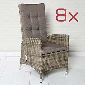 8 Gartenstühle Gartensessel Rocking Chair Poly Rattan Sitzgruppe Gartenset Stuhl