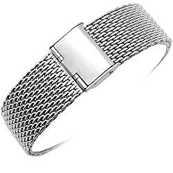 YISUYA 22mm Solid Milanese Mesh Stainless Steel Strap with Hook Buckle Classic Polished Silver Watch Band Straps 2.2cm