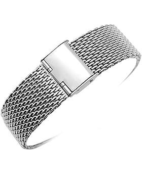 YISUYA 20mm Uhrenarmband aus Milanaise Mesh Edelstahl Gurt mit Faltschließe, klassisches Design, Silberfarben...