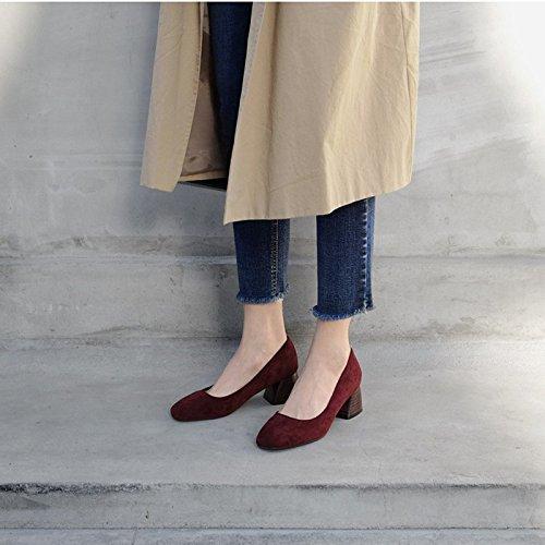 FLYRCX Semplice moda autunno inverno lady tacco alto tacco scarpe tacco Europa dimensioni: 33-40 C