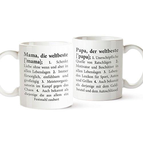 2er Set Tassen mit Aufdruck – Definition Mama und Papa – Standard – Bedruckte Teetassen – Lustige Kaffeetassen als Geschenkideen für Mama und Papa – Geburtstagsgeschenke