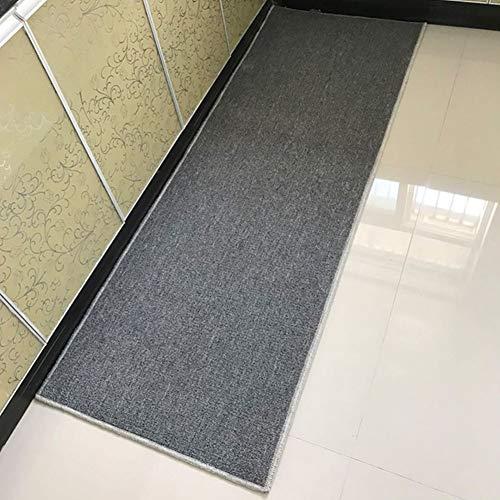 WENZHE Küche Teppich Läufer Küchenmatten Einfarbig Rutschfest Streifen Wasseraufnahme Zuhause Schlafzimmer Balkon Fußpolster, Dicke 4,5 Mm, 11 Größen (Farbe : Gray, größe : 50x100cm)