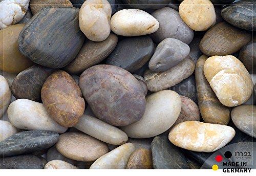 matches21 Fußmatte Fußabstreifer FLAT Motiv STRAND STEINE Kieselsteine 50x80 cm extra flach maschinenwaschbar bei 30°C