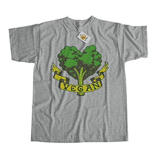 Vegan Shirt Green Broccoli Vegan Design Stylish Shirt - Vegan Lifestyle Maglietta Grigio