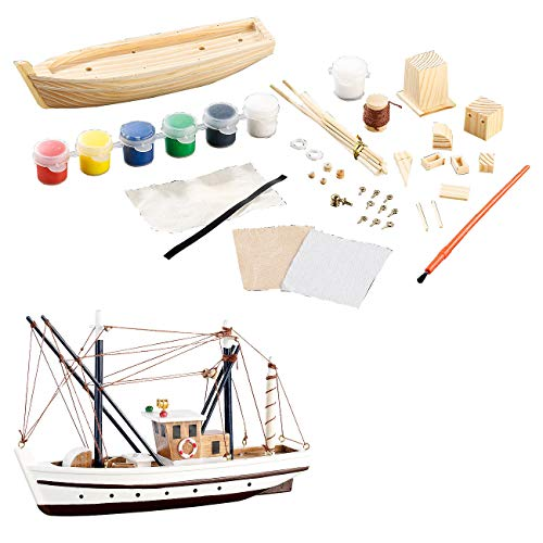 Playtastic Schiffbausatz: 40-teiliger Schiff-Bausatz Fischkutter aus Holz (Bausatz Boot Kinder)