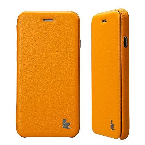 Jisoncase WEICH Handytasche Originalität des Design für iPhone 6 6s Leder Orangegelb Hülle Case JS-IP6-32H80 orangegelb