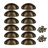 12 x Muschelgriff Schalengriff Ziehgriff Möbelgriff Schublade Eisen Handgriff Schrauben Set (Bronze)