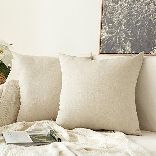 50% Leinen (MIULEE 2er Pack Leinenoptik Home Dekorative Kissenbezug Kissenhülle Kissenbezug für Sofa Schlafzimmer Auto mit Reißverschlüsse 50x50 cm Creme Weiß)