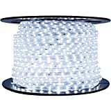 DMT 100 Meters LEDs - White - Flat Square Rope Light - Spool - Clear Tubing With White LED- Ceiling Light Focus Pure Cool White ('IP65 ' Water Resistant) | Rope Lights | | White Rope Light |