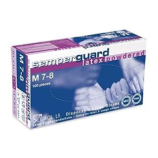 Semperguard Latex-Einmalhandschuhe, gepuderte Ausführung, Größe M, 100 Stück