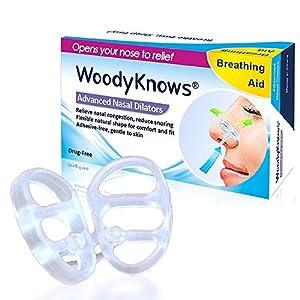 Anti Schnarch SchnarchStopper, WoodyKnows Nasendilatatoren für Abhilfe bei Verstopfter Nase, Reduzieren Nasenklammer Schnarchen, Alternative zu Nasenklammern und Nasenpflastern
