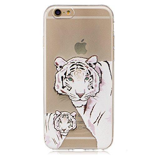 Cover iPhone 7, CXTcase Custodia Soft TPU Silicone Gel Flessibile Sottile Bumper Ultra Slim Trasparente Crystal Cover per Apple iPhone 7 Case Indiana Girasole Nero Tigre