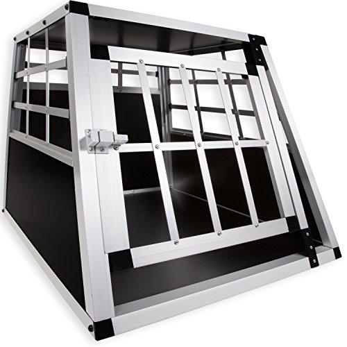 LovPet® Alu Hundebox Alubox Hundetransportbox ✓ Transportbox ✓ Reisebox ✓ Haustiere | Stabil | Größe: M | Farbe: Schwarz / Silber