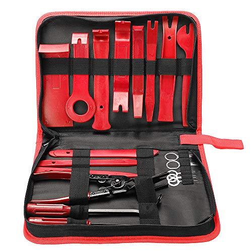 KKmoon 19 Stücke Auto Demontage Werkzeuge Zierleistenkeile Verkleidungs Werkzeug Innen-Verkleidung Ausbau, Auto Zubehör Removal Reparatur Set