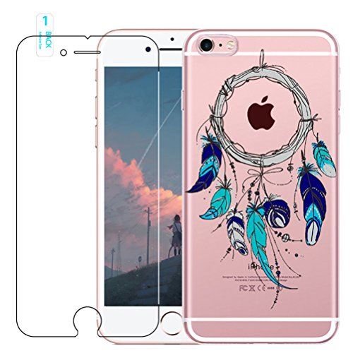 Coque iPhone 6 Plus / 6S Plus avec Verre Trempé, blossom01 Cute Motif Dreamcatcher Premium TPU Souple Etui de Protection [absorbant les chocs] [Ultra mince] [Anti-rayures] pour iPhone 6 Plus / 6S Plus #07