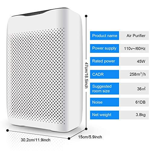 Luftreiniger Hepa Aktivkohlefilter, Luftreiniger mit HEPA-Filter & Ionisator, mit 4-Lagen-Filtration und 3-Timer-Funktion, für Allergiker und Raucher, CADR 258m³/h