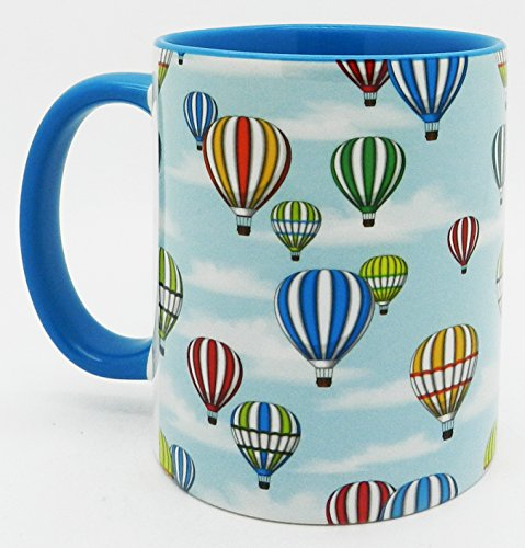 Half a Donkey The Hot Air Balloons Mug with glazed blue handle and inner