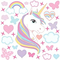 GET STICKING DÉCOR MAGICAL UNICORN/HORSE WALL STICKERS COLLECTION, Rainbow Unic.4, glossy vinyl, multi color.