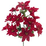 38,1cm in Künstliche Samt rot Weihnachtsstern Bush–14Blütenköpfe–Weihnachten