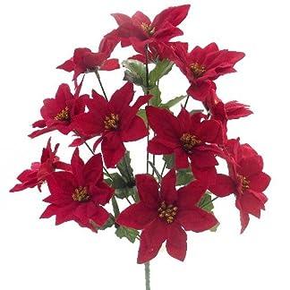 15«en rojo de terciopelo Artificial flor de Pascua Bush–14cabezas–Navidad
