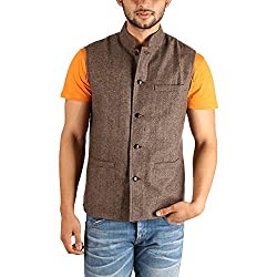 Owncraft Mens Woolen Nehru Jacket (Own_141_Brown_38)
