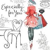 """Twizler Geburtstagskarte, für Damen, mit Swarovski-Kristallen besetzt, silberfoliert, einzigartiger Aquarell-Effekt """"Especially for You"""""""