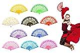 """Zusammenklappbarer Handfächer """"Rose Lace"""" für Damen, im spanischen, japanischen, chinesischen Vintage-Retro-Design, Stoff-Handfächer für Hochzeit, Kirche, Party und als Geschenk, Bulkware, 10 Stück, verschiedene Farben erhältlich, von OMyTea, Textil, Mixed Colors, 10pcs"""