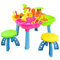 boppi Sand & Water Activity Play Table Set with 13 Summer Toy Accessories and 2 Stool Seats and 4 in 1 Plastic Playpit Colour Sections
