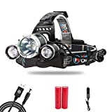 MakeTheOne Head Torch Headlamp Light 5000lm 3 * XM-L T6 LED Headlamp Waterproof Powerful Bright + Rechargeable USB + Car Chrger + 2 * 18650 Battery- Can Be Charged in Car - for Camping Fishing Cycling Running Walking