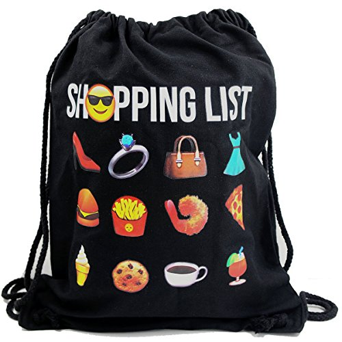 Imagen de premyo bolsa de cuerdas negra 100% algodón con emoji shopping list.  con cuerdas con impresión emoticon en color de alta calidad. gracioso gymsac con cordón. saco de gimnasio ideal para viajar alternativa
