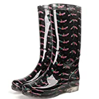 lonfenner Rain Boots,Women High Rainboots Soft Comfortable Waterproof Rubber Keep Warm Wear Resistant Water Shoes Wellies Non-Slip Rain Boots Ladies Pink Butterfly Rain Boots