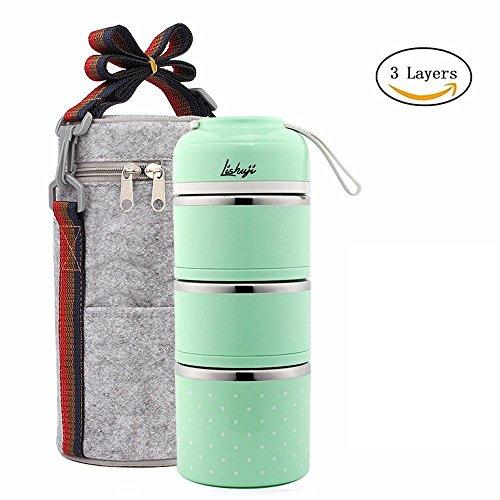 Lunchbox/Bento Box Edelstahl Lebensmittel Container Isolierung brotdose,mit tasche und Besteck (Kinder-geteilte Platte)