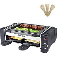 Raclette Mini Appareil Raclette 2 Personnes Machine a Raclette avec 2 Poêlons et 4 Spatule, Température Réglable…