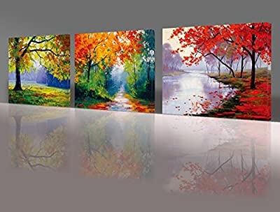 Nuolan Art - Framed Ready to Hang 3 Panels Modern Landscape Canvas Print Wall Art - UK-P3L3040-005 produced by Nuolan Art - quick delivery from UK.