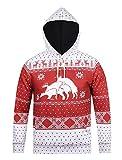 Honeystore Unisex 3D Druck Hoodie Kapuzenpullover Langarm Sweatshirt Weihnachten Davidshirsch Drucken Kapuzenjacke Mit Taschen Rot XL
