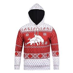 Honeystore Unisex 3D Druck Hoodie Kapuzenpullover Langarm Sweatshirt Weihnachten Davidshirsch Drucken Kapuzenjacke Mit Taschen