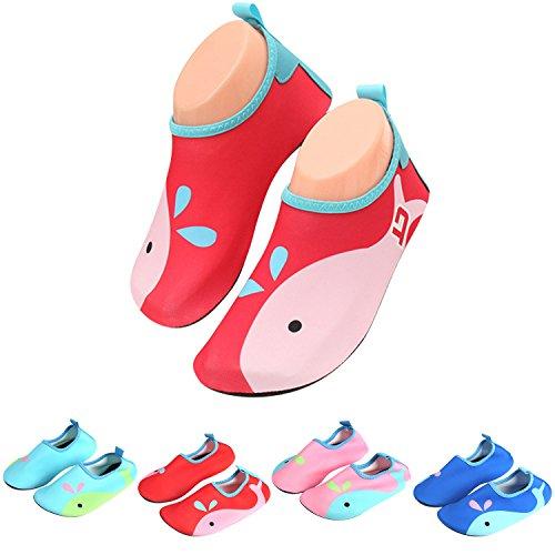 katliu Badeschuhe Wasserschuhe Strandschuhe Mädchen Jungen Schwimmschuhe Barfußschuhe Surfschuhe Kinder Baby Aqua Schuhe,Rot 27