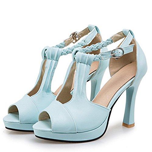COOLCEPT Damen Mode Knochelriemchen Sandalen Peep Toe Blockabsatz Schuhe Blau
