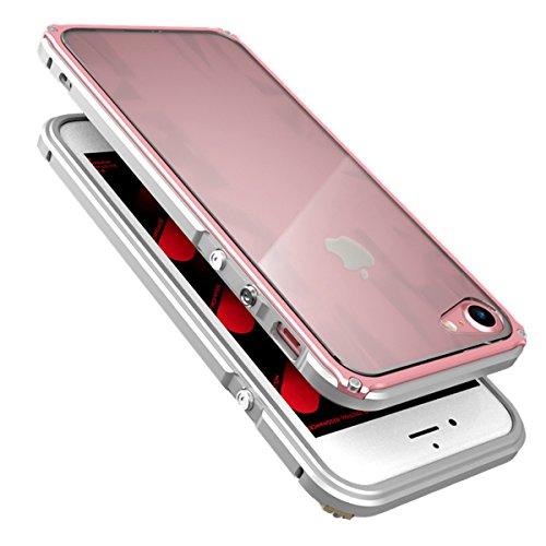 iPhone 6 / 6S Coque ,SHANGRUN Aluminium Metal Frame Bumper Coque + Dazzle couleur PC Matériel Protictive Couvercle housse Etui Protection Case pour iPhone 6 / 6S (4.7 inch) ArgentBleu ArgentRose Or
