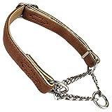 Penivo husdjur justerbar rostfritt stål kedja krage martingale choke läder träning hundhalsband för små medelstora hundar, M (33cm-47cm), Brun