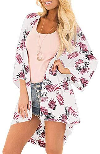 Rot Floral Kimono (NORA TWIPS Damen Chiffon Kimono Cardigan Casual Langarm Wasserfall Jacke Lose Leicht Luftig Oberteil Mantel, Rot - M)