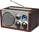 Roadstar HRA-1345 Retro-Radio mit UKW und MW Tuner (USB, SD-Kartenleser, AUX-In, Teleskop-Antenne), braun / silber