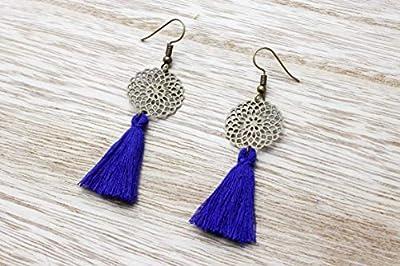 Boucles d'oreilles pompon bleu et mandala bronze, cadeau fête des mères, cadeau noël, cadeau original