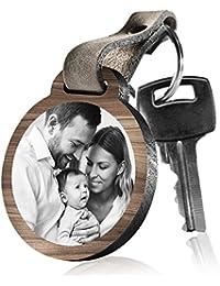 """schenkYOU Schlüsselanhänger aus Holz """"Für immer an deiner Seite"""" mit rückseitiger Fotogravur"""