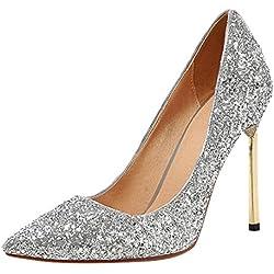 YE Damen High Heel Stiletto Spitze Zehen Geschlossen Party Sexy Pailletten Glitzer Pumps Schuhe (38EU, Silber)